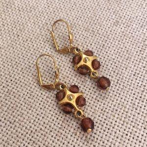 Goldtone & Brown Bead Dangle Lever Back Earring